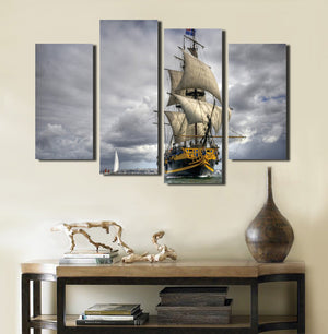 4 Panel Sailing Ship Painting Wall Art Decor Printed Canvas Picture-066 (3)