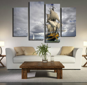 4 Panel Sailing Ship Painting Wall Art Decor Printed Canvas Picture-066 (4)
