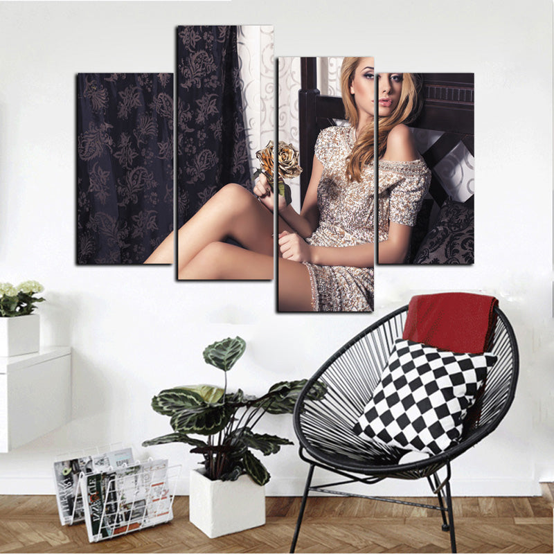 4 Panel Sexy Girl Canvas Print Wall Art Living Room and Bedroom Decor  sc 1 st  Newcanvasprint & 4 Panel Sexy Girl Canvas Print Wall Art Living Room and Bedroom ...