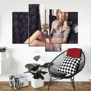4 Panel Sexy Girl Canvas Print Wall Art-049 (1)