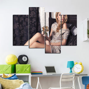 4 Panel Sexy Girl Canvas Print Wall Art-049 (3)