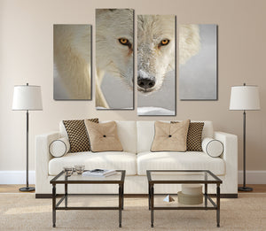 4 Panel White Wolf Picture Animal Art Canvas Print-032 (3)