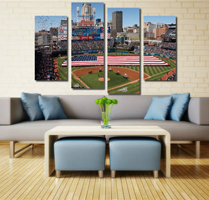 4 Piece Baseball Field Canvas Prints Wall Art-042 (4)