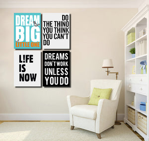 4 Piece Dream Big Little One Canvas Wall Art Prints Poster Picture-022 (4)