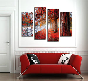 4 Piece Red Tree Canvas Prints Landscape Oil Painting-041 (1)
