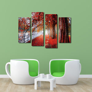 4 Piece Red Tree Canvas Prints Landscape Oil Painting-041 (2)