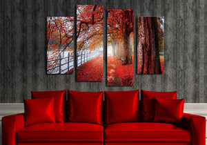 4 Piece Red Tree Canvas Prints Landscape Oil Painting-041 (4)