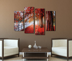 4 Piece Red Tree Canvas Prints Landscape Oil Painting-041 (5)