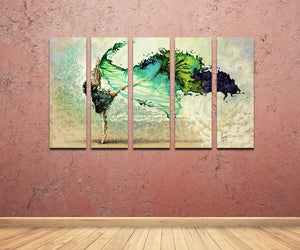 5 Panel Abstract Ballet Dancing Girl Wall Canvas Prints-029 (3)