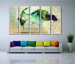 5 Panel Abstract Ballet Dancing Girl Wall Canvas Prints-029 (4)