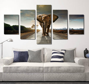 5 Panel African Elephant Canvas Wall Art Prints Picture- 033(1)