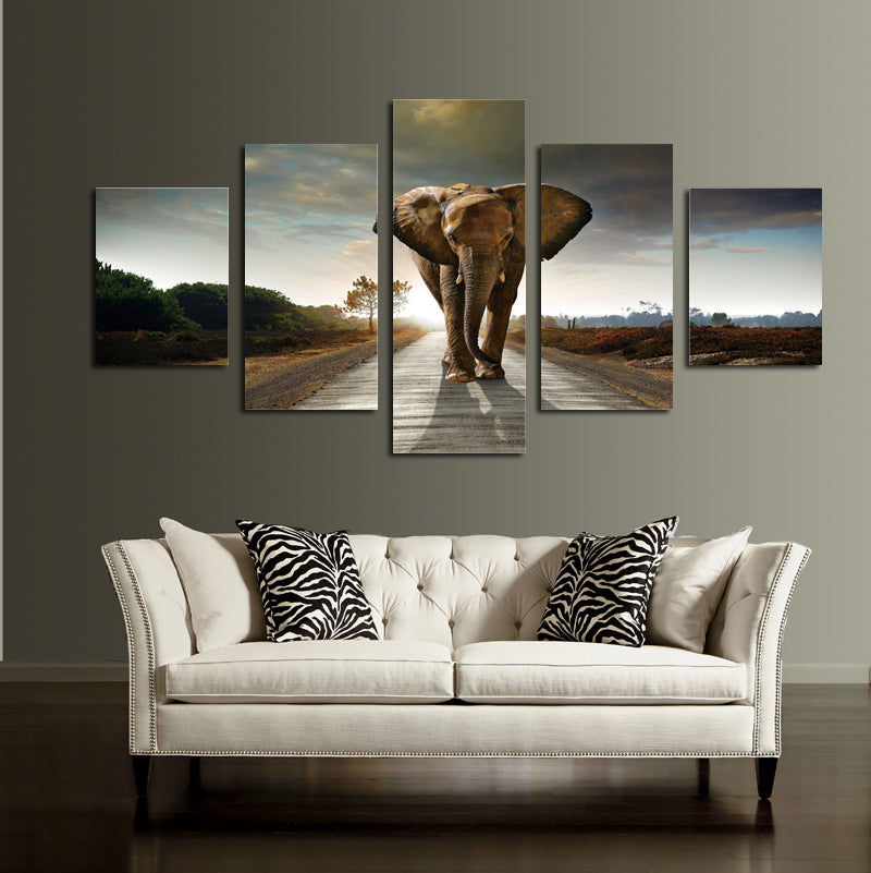 5 Panel African Elephant Canvas Wall Art Prints Picture