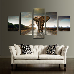 5 Panel African Elephant Canvas Wall Art Prints Picture- 033(3)