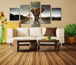 5 Panel African Elephant Canvas Wall Art Prints Picture- 033(4)