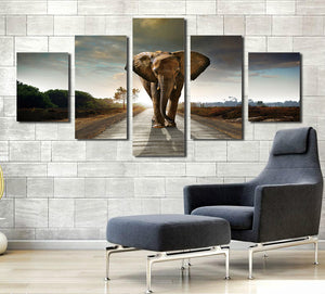 5 Panel African Elephant Canvas Wall Art Prints Picture- 033(5)