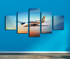 5 Panel Airplane Canvas Printed Picture Wall Art-061 (2)
