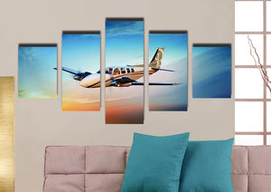 5 Panel Airplane Canvas Printed Picture Wall Art-061 (3)