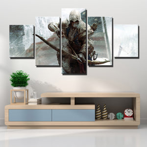 5 Panel Assassins Creed III Connor Kenway Print Poster Wall Decor Canvas Art-218 (1)