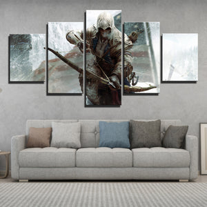 5 Panel Assassins Creed III Connor Kenway Print Poster Wall Decor Canvas Art-218 (2)