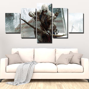 5 Panel Assassins Creed III Connor Kenway Print Poster Wall Decor Canvas Art-218 (4)