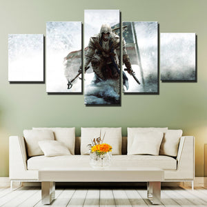5 Panel Assassins Creed III Connor Print Picture Wall Decor Canvas Art-219 (1)