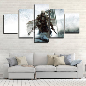 5 Panel Assassins Creed III Connor Print Picture Wall Decor Canvas Art-219 (2)