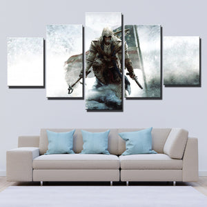 5 Panel Assassins Creed III Connor Print Picture Wall Decor Canvas Art-219 (3)