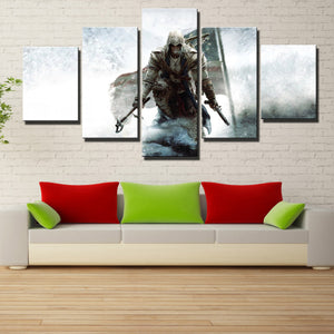 5 Panel Assassins Creed III Connor Print Picture Wall Decor Canvas Art-219 (4)