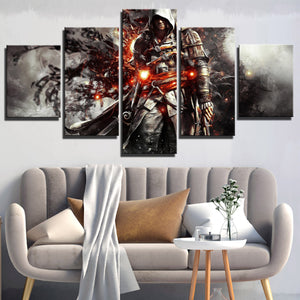 5 Panel Assassins Creed IV Black Flag Edward Canvas Print Wall Art-222 (1)