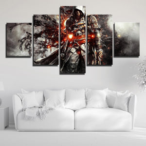 5 Panel Assassins Creed IV Black Flag Edward Canvas Print Wall Art-222 (4)