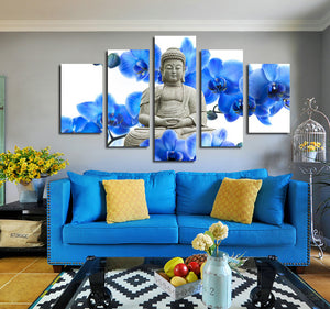 5 Panel Blue Orchids Buddha Canvas Prints Picture Art-046 (1)