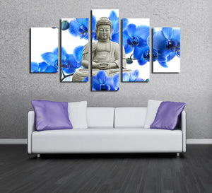 5 Panel Blue Orchids Buddha Canvas Prints Picture Art-046 (4)