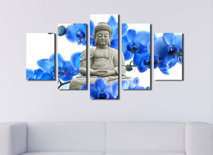 5 Panel Blue Orchids Buddha Canvas Prints Picture Art-046 (5)