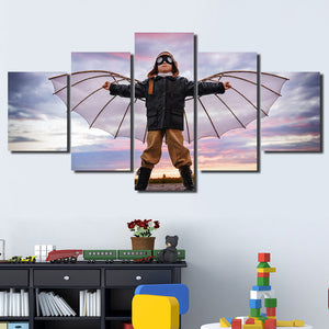5 Panel Boy Dreams of Flying Canvas Print Picture Wall Art-099 (1)