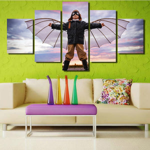 5 Panel Boy Dreams of Flying Canvas Print Picture Wall Art-099 (2)