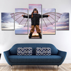 5 Panel Boy Dreams of Flying Canvas Print Picture Wall Art-099 (3)