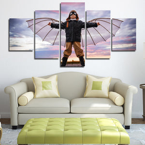 5 Panel Boy Dreams of Flying Canvas Print Picture Wall Art-099 (4)