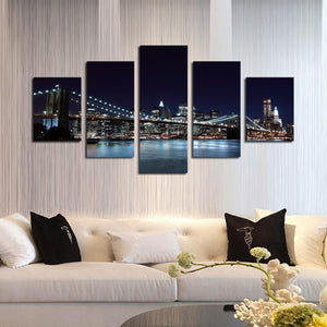 5 Panel Brooklyn Bridge Night Landscape Picture Prints-045 (1)
