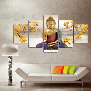 5 Panel Buddha Canvas Prints Flower Painting Art-044 (1)