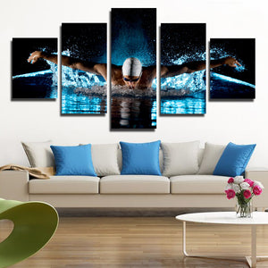 5 Panel Butterfly Stroke Swimming Man Canvas Prints-080 (1)