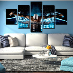 5 Panel Butterfly Stroke Swimming Man Canvas Prints-080 (2)