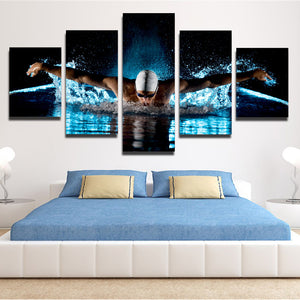 5 Panel Butterfly Stroke Swimming Man Canvas Prints-080 (3)