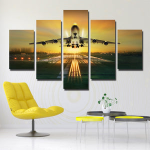 5 Panel Canvas Art Plane Take off Painting Landscape Print-081 (1)