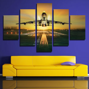 5 Panel Canvas Art Plane Take off Painting Landscape Print-081 (2)