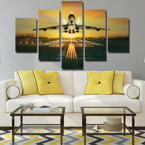 5 Panel Canvas Art Plane Take off Painting Landscape Print-081 (3)