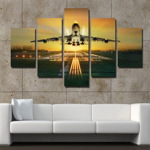5 Panel Canvas Art Plane Take off Painting Landscape Print-081 (4)