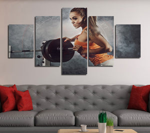5 Panel Canvas Prints Girl in Fitness Gym Poster Picture-052 (1)