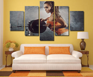 5 Panel Canvas Prints Girl in Fitness Gym Poster Picture-052 (2)