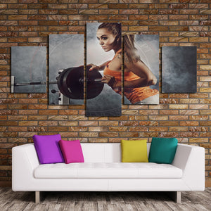 5 Panel Canvas Prints Girl in Fitness Gym Poster Picture-052 (3)