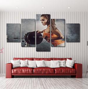 5 Panel Canvas Prints Girl in Fitness Gym Poster Picture-052 (4)